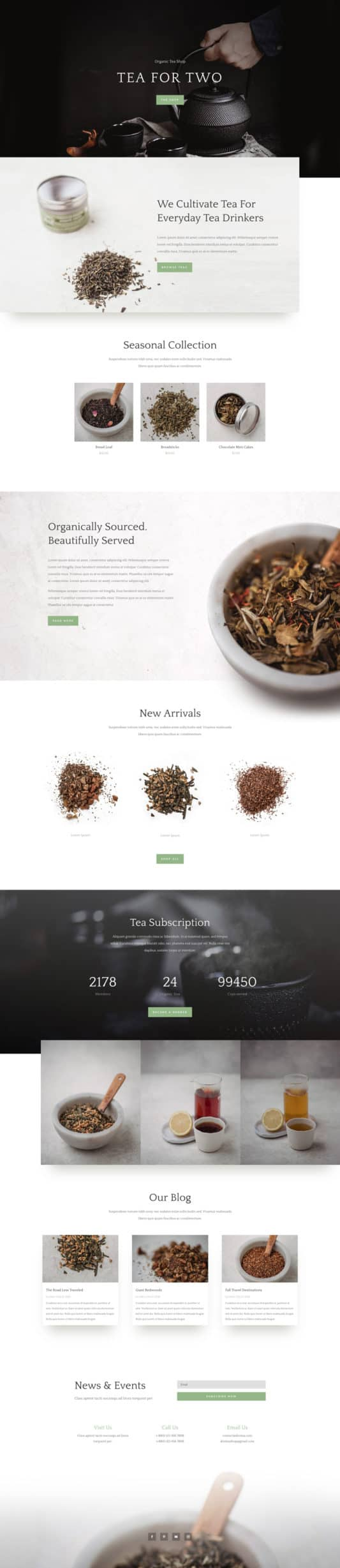 The Tea Shop Page Style: Homepage Design 1