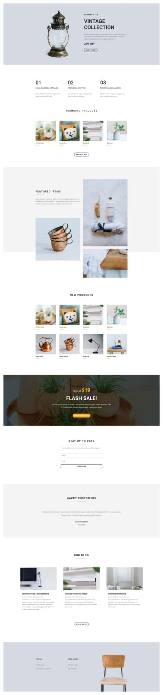The Boutique Page Style: Homepage Design 1