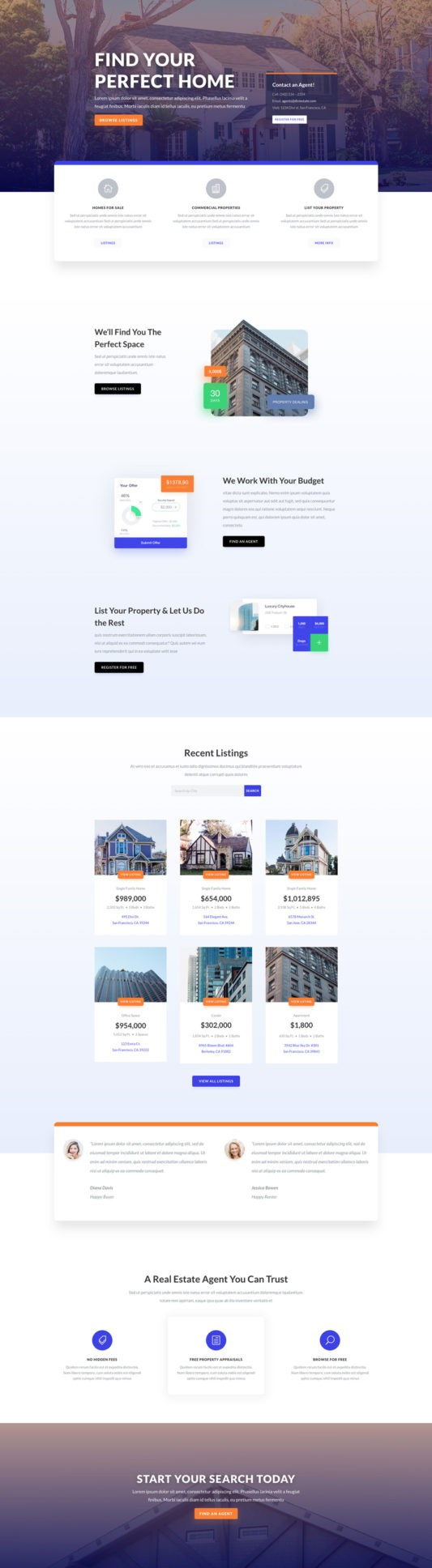 The Real Estate Page Style: Homepage Design 1