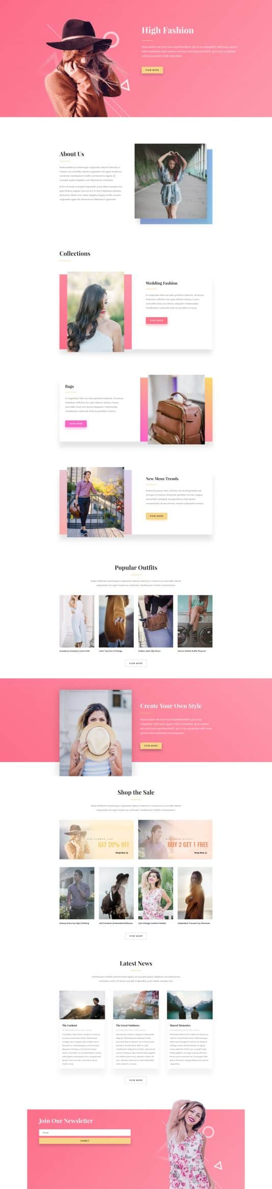 The Fashion Page Style: Homepage Design 1