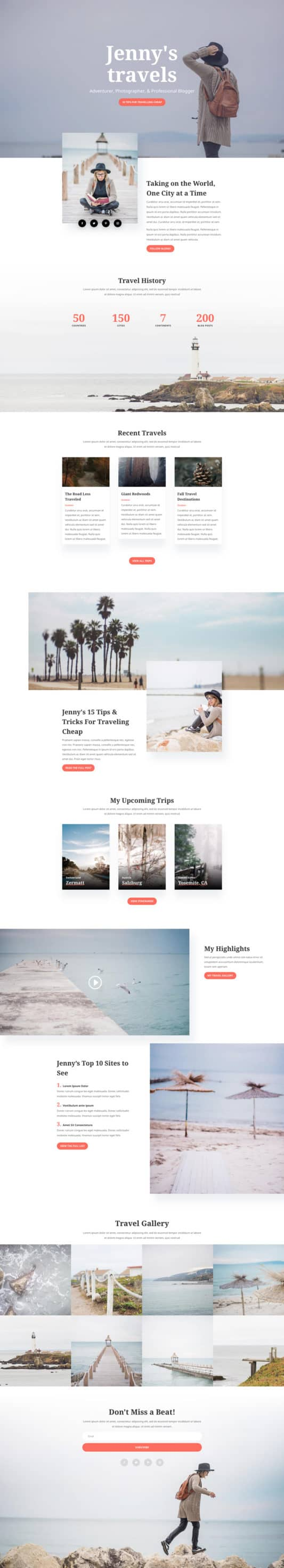 The Travel Blog Page Style: Homepage Design 1