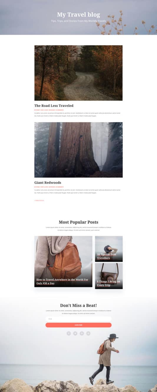 Travel Blog Web Design 2