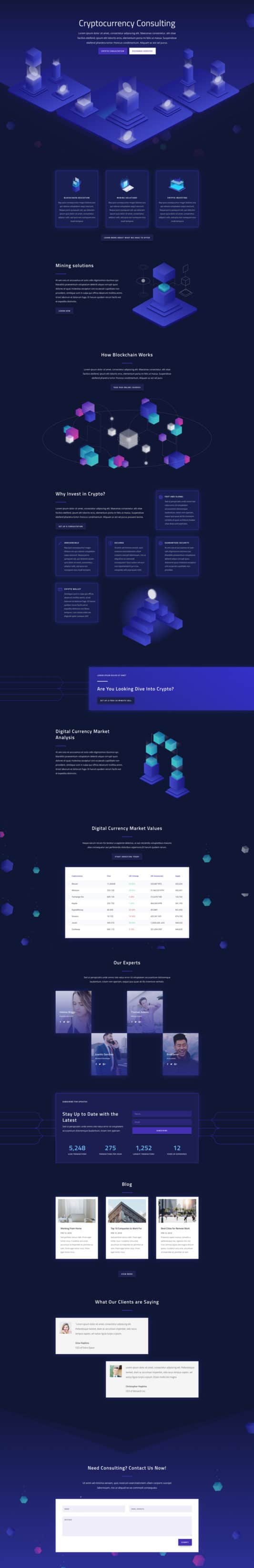 The Cryptocurrency Page Style: Homepage Design 1