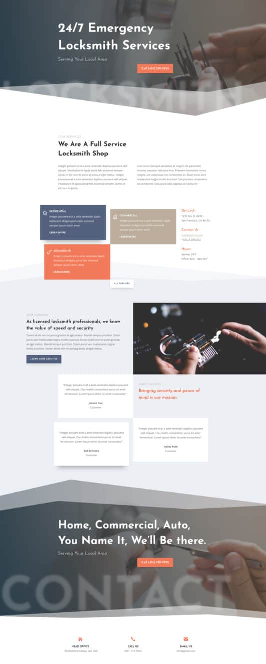 The Locksmith Page Style: Homepage Design 1