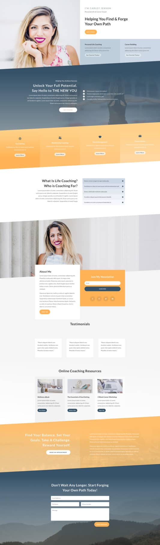 The Life Coach Page Style: Homepage Design 1