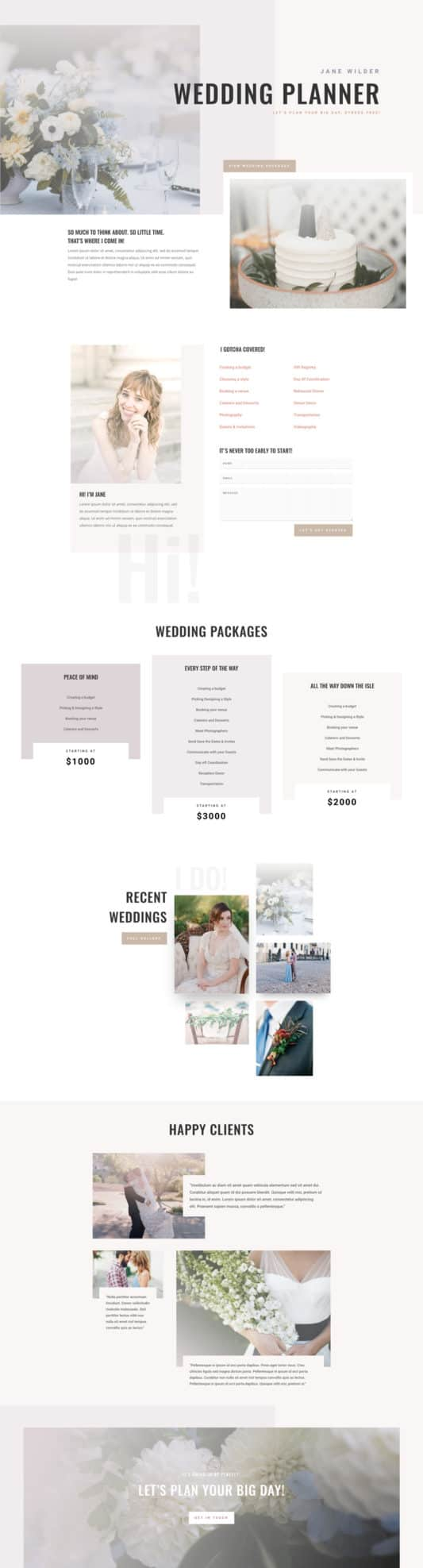 The Wedding Planner Page Style: Homepage Design 1