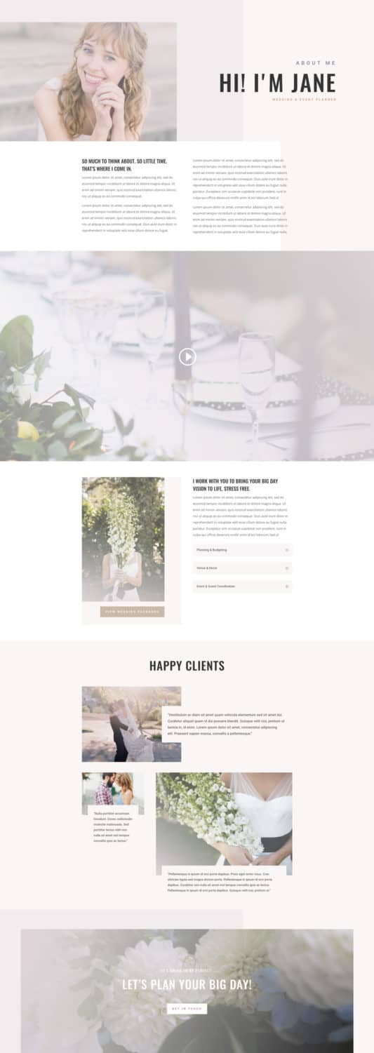 Wedding Planner Web Design 1