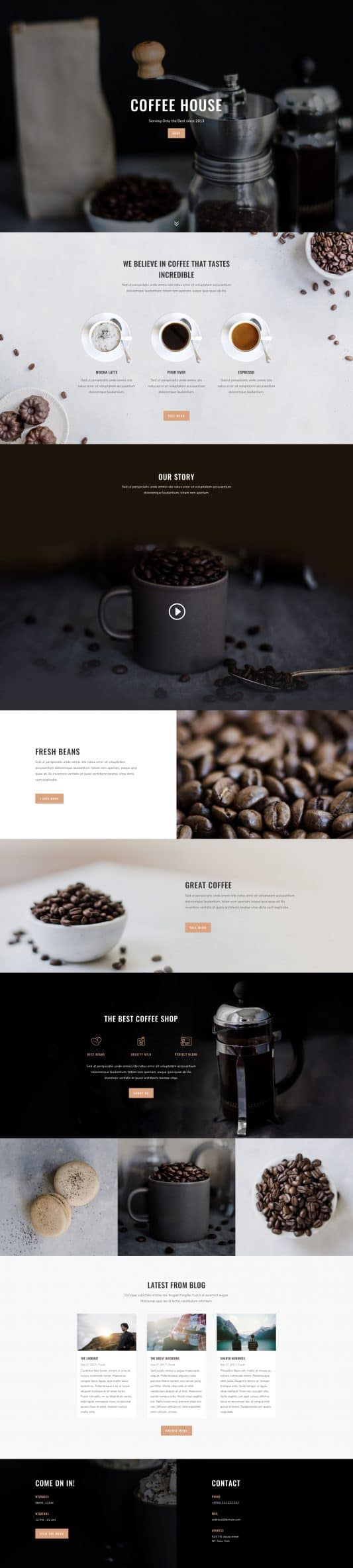 The Coffee Shop Page Style: Homepage Design 1