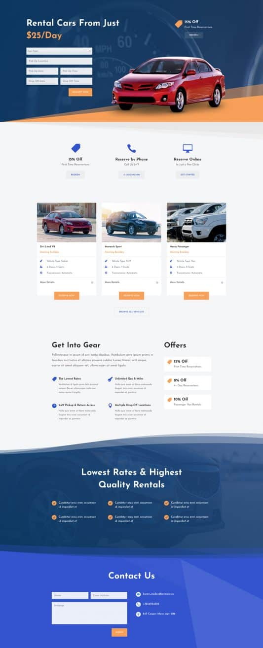 Car Rental Web Design 3