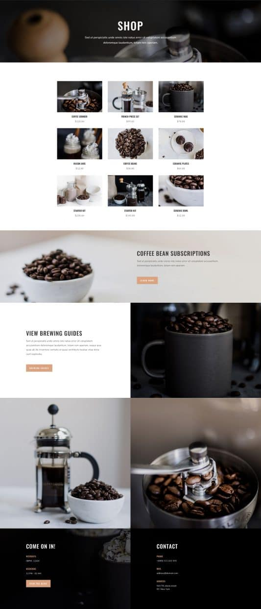 Coffee Shop Web Design 8