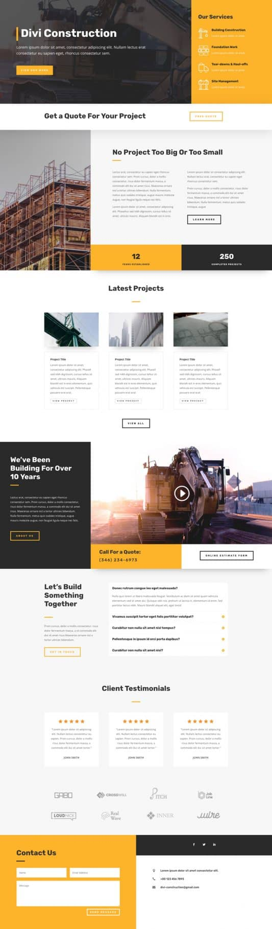 The Construction Company Page Style: Homepage Design 1