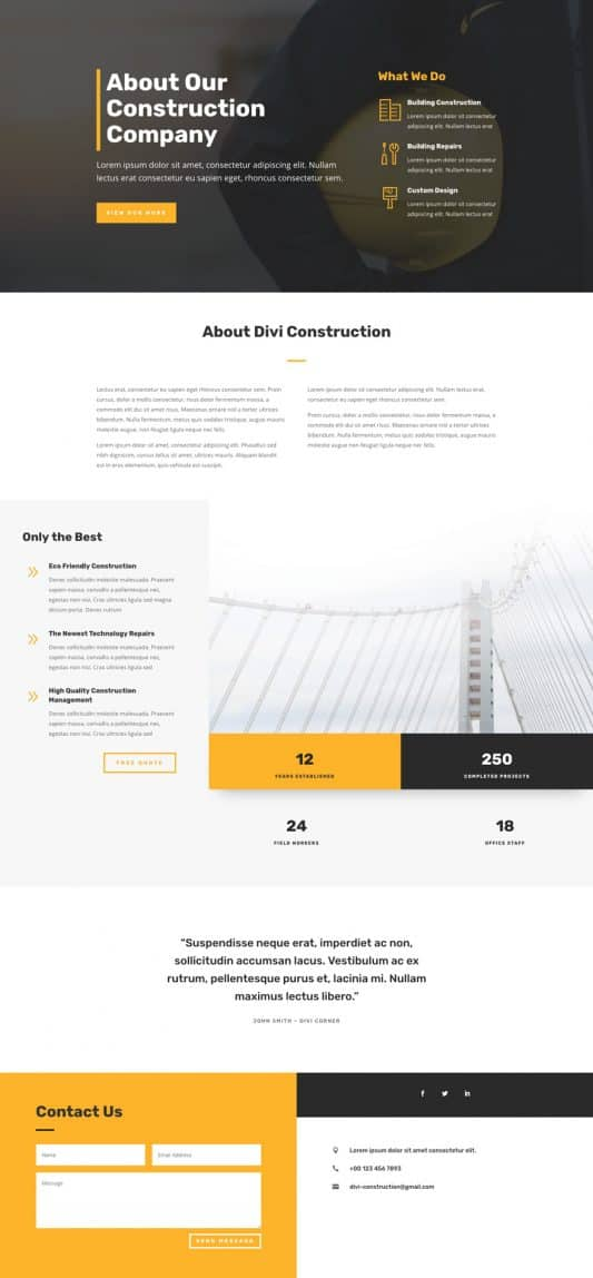 Construction Company Web Design 1