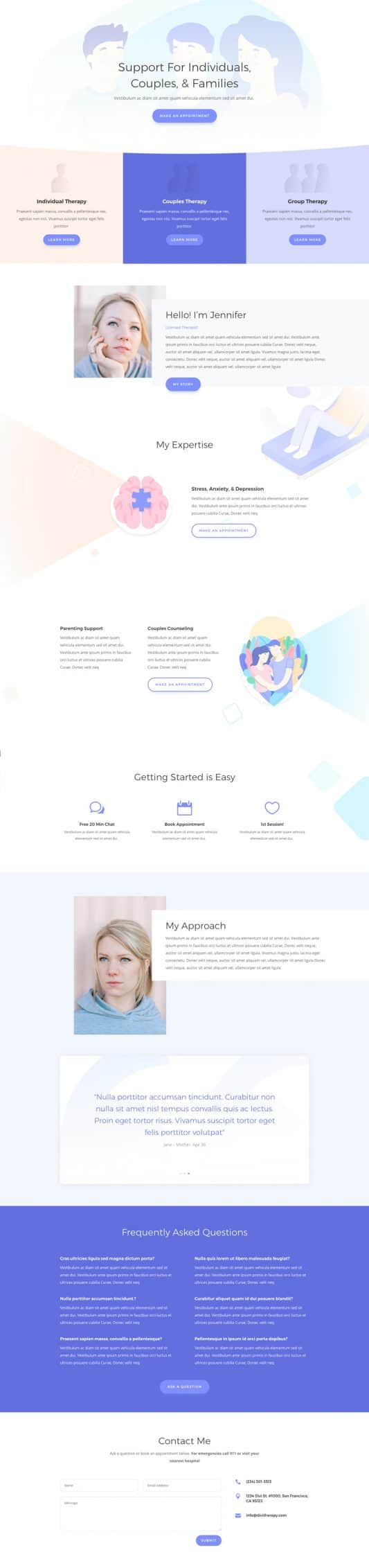 The Therapist Page Style: Homepage Design 1
