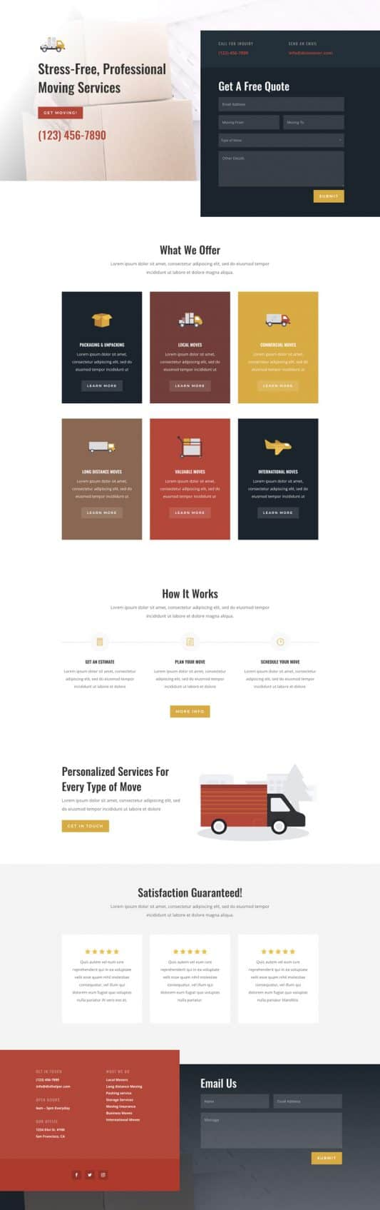 The Moving Company Page Style: Homepage Design 1