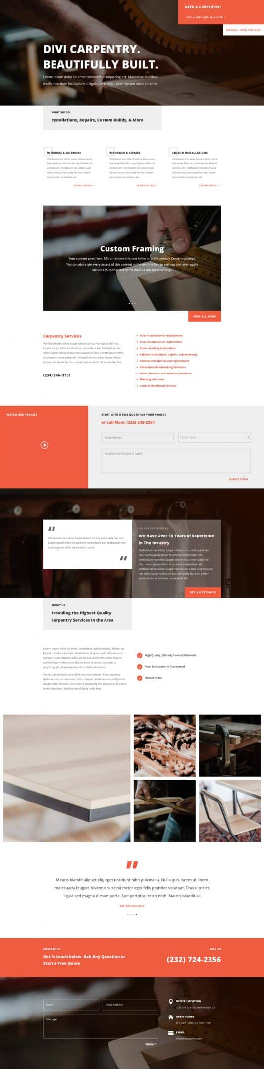 The Carpenter Page Style: Homepage Design 1