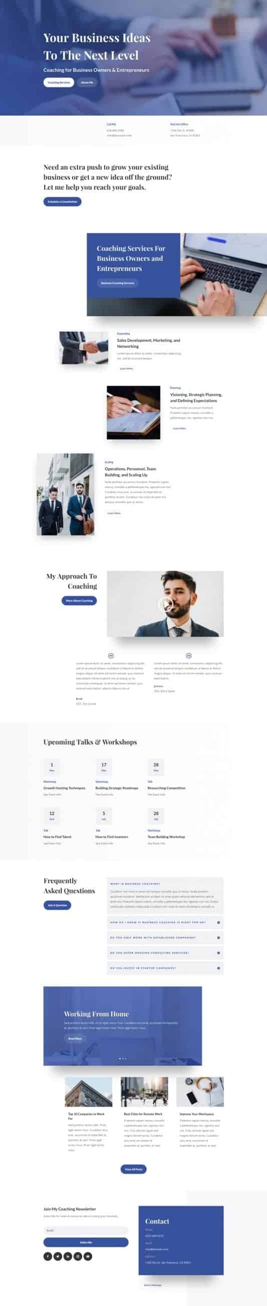 The Business Coach Page Style: Homepage Design 1