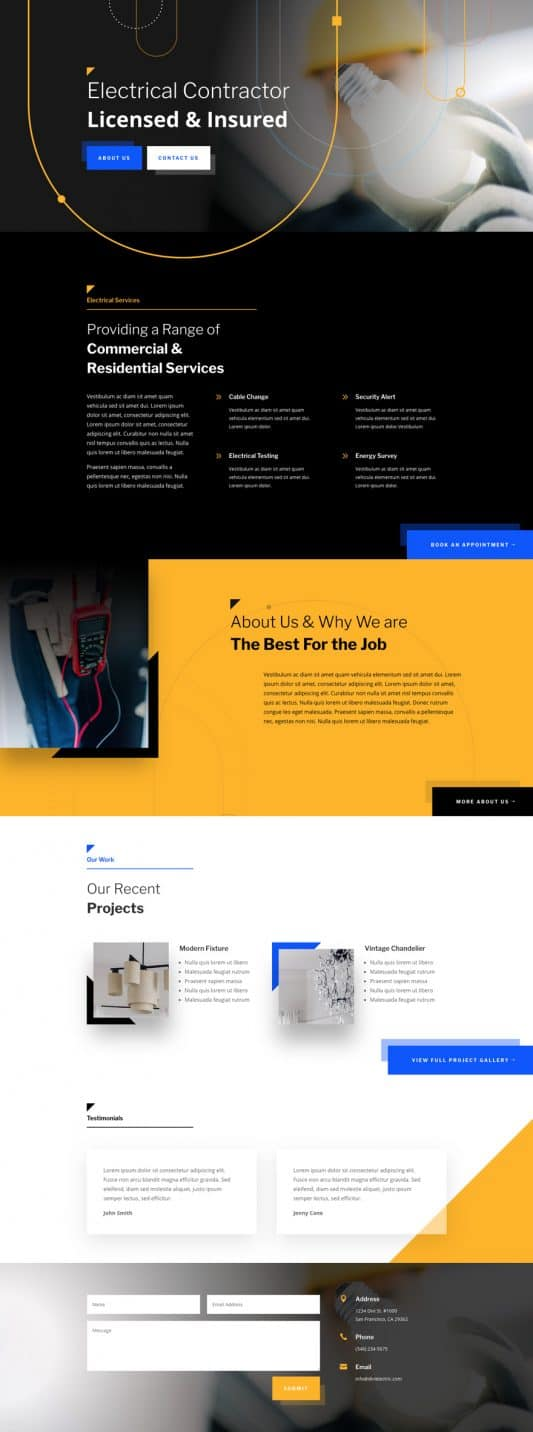 The Electrician Page Style: Homepage Design 1