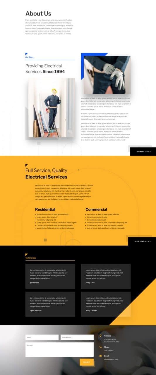 Electrician Web Design 1