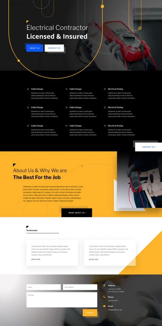 Electrician Web Design 3