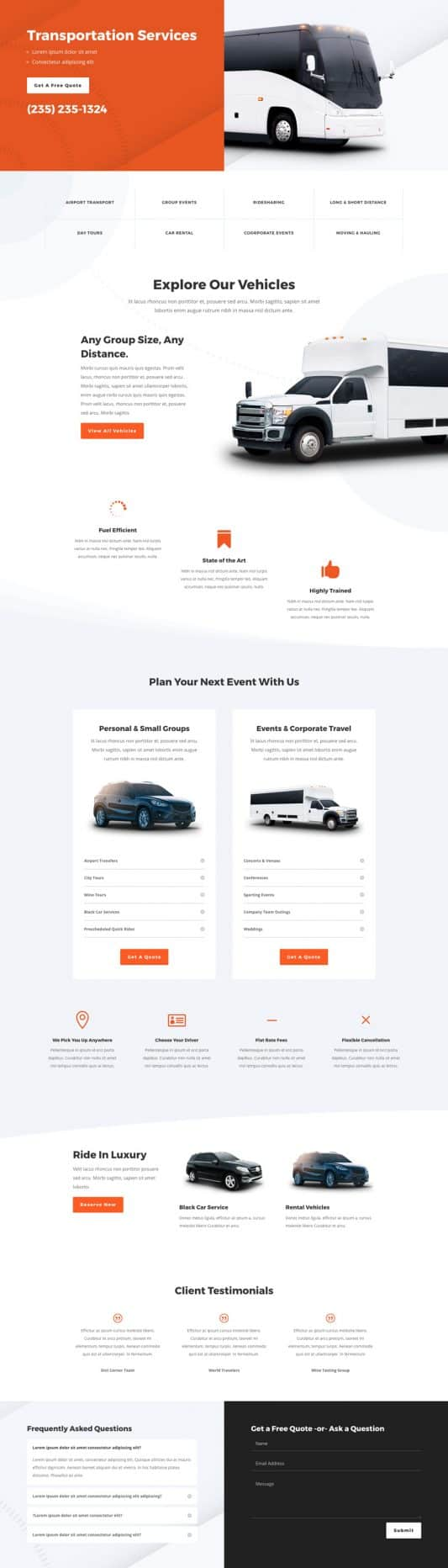 Transportation Services Web Design 4