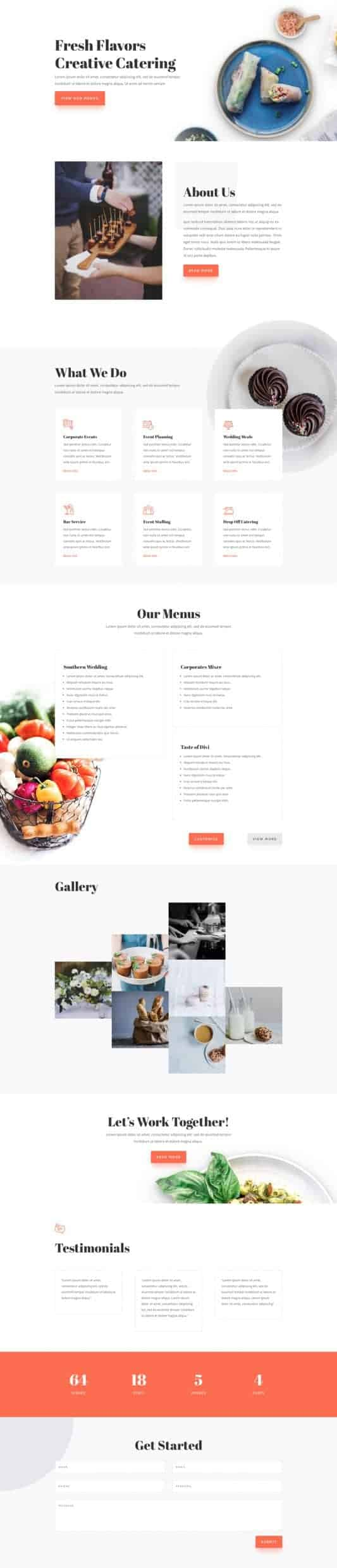 The Food Catering Page Style: Homepage Design 1