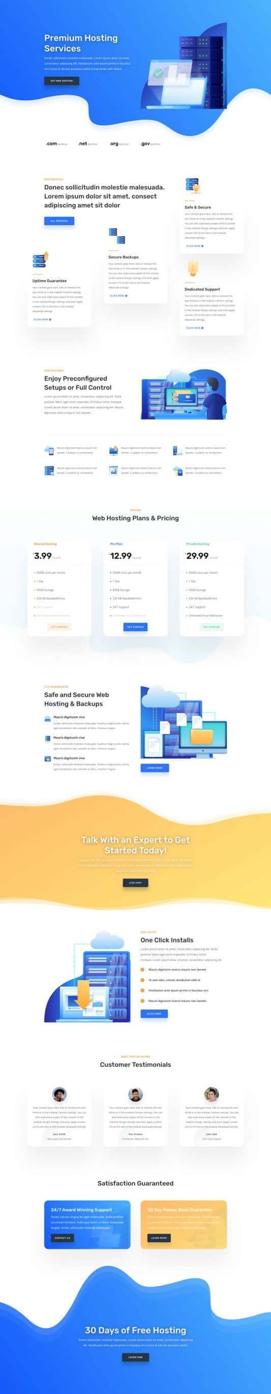 The Hosting Company Page Style: Homepage Design 1