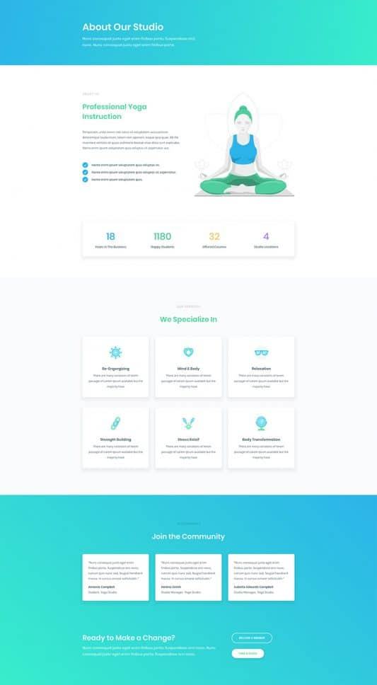 Yoga Studio Web Design 1