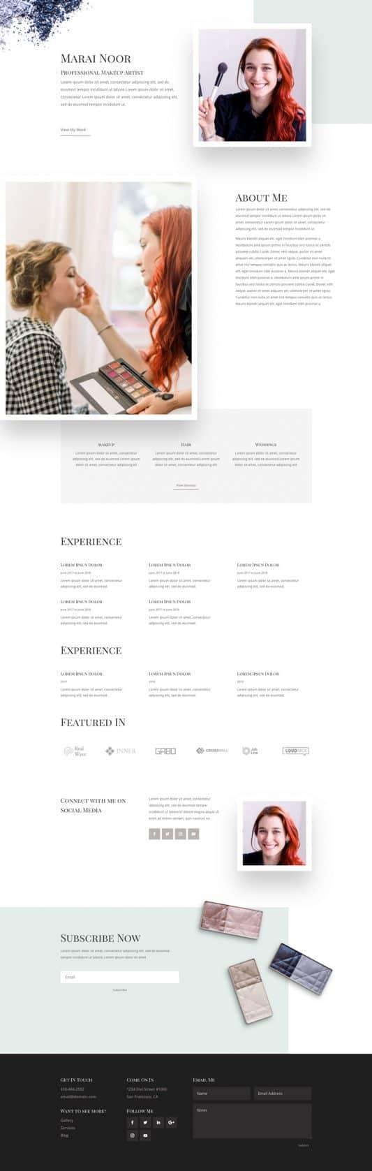 Makeup Artist Web Design 1