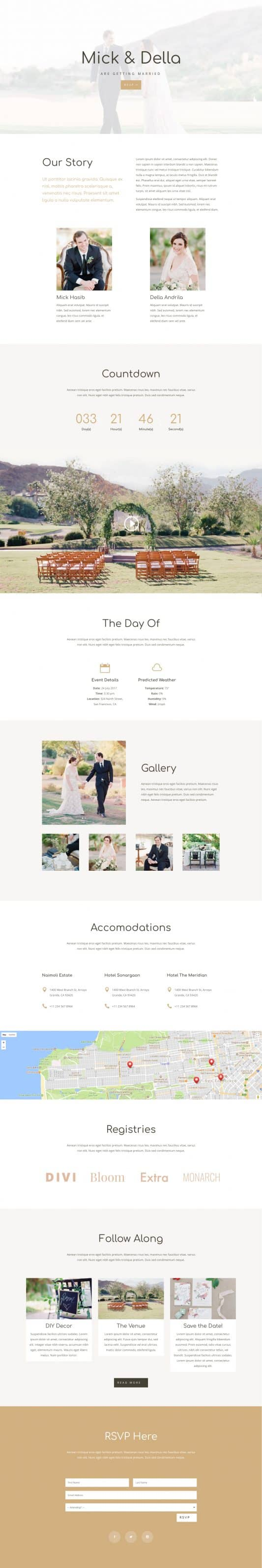 The Wedding Page Style: Homepage Design 1