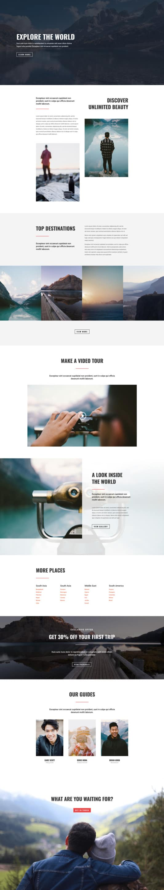 The Travel Agency Page Style: Homepage Design 1