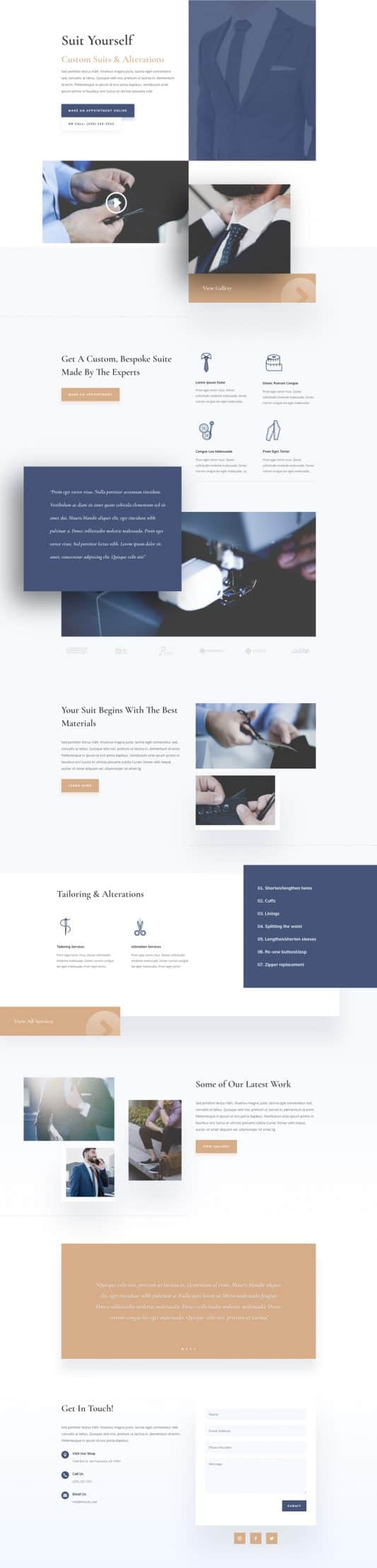 Suit Tailor Landing Page Style 1