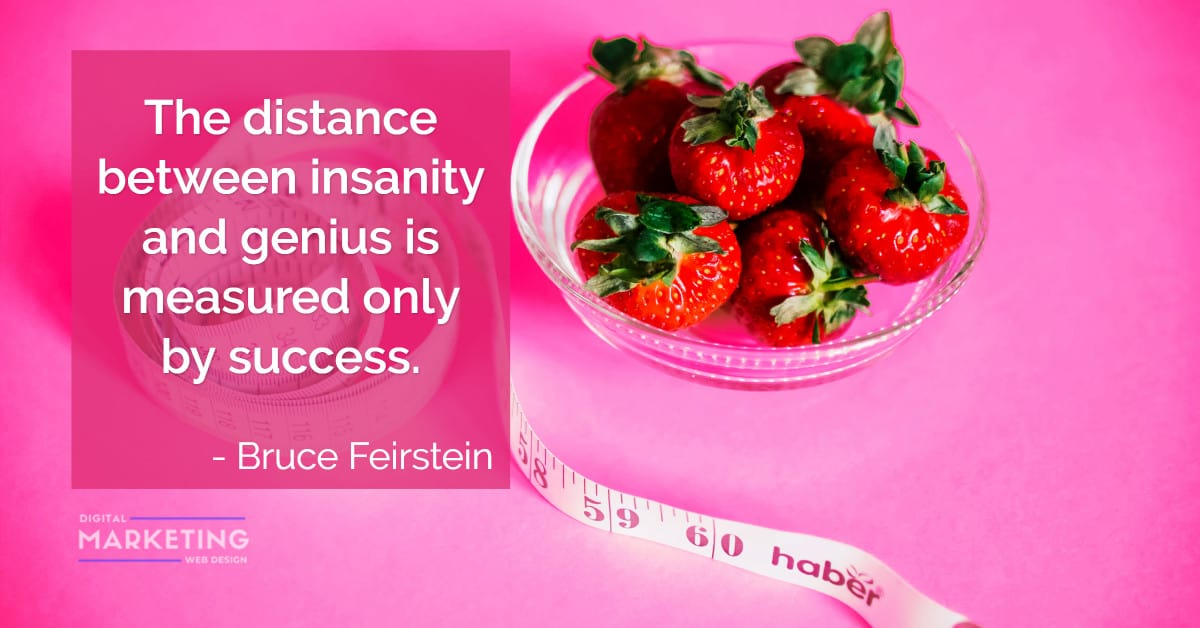 The distance between insanity and genius is measured only by success - Bruce Feirstein 1