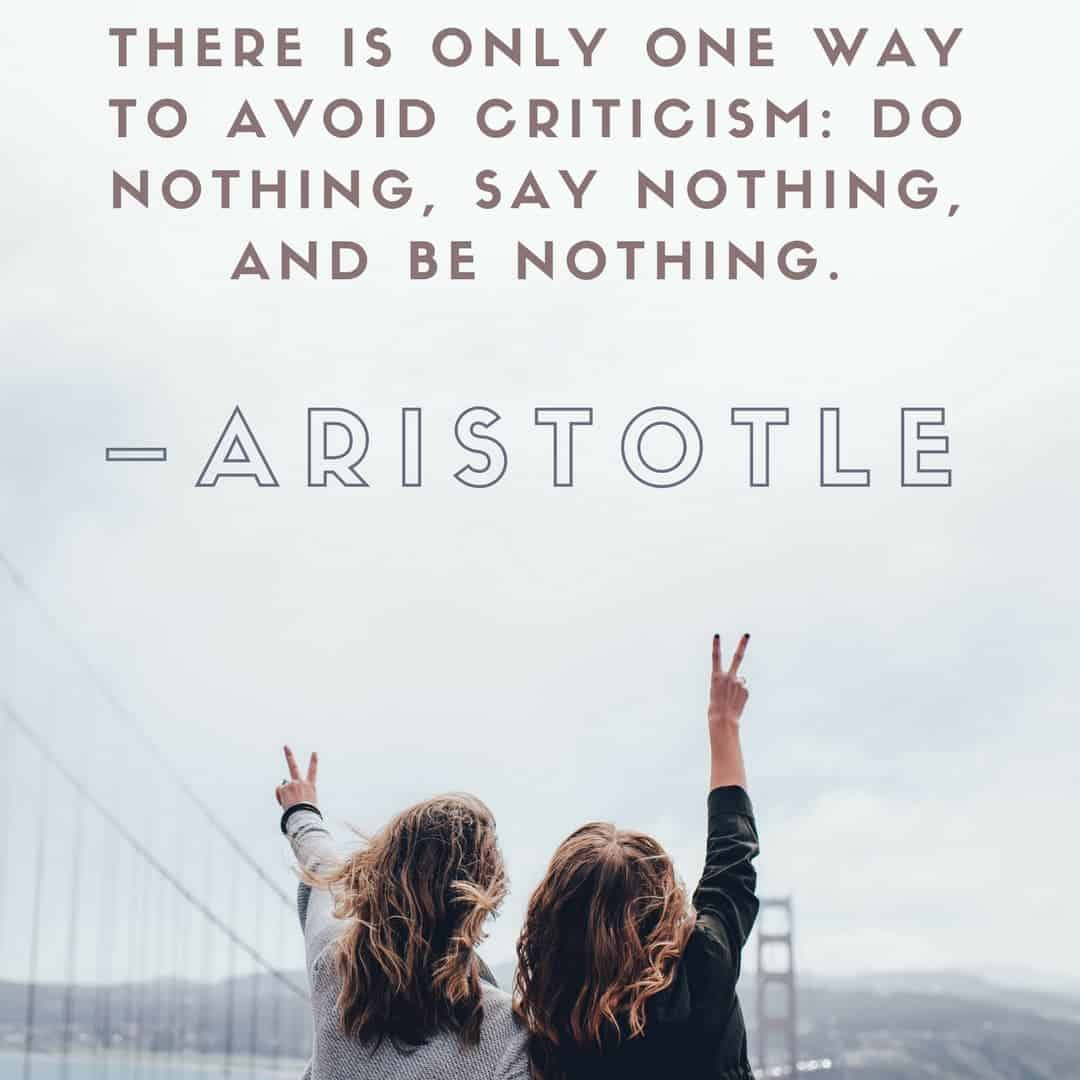 There is only one way to avoid criticism_ do nothing, say nothing, and be nothing. –Aristotle