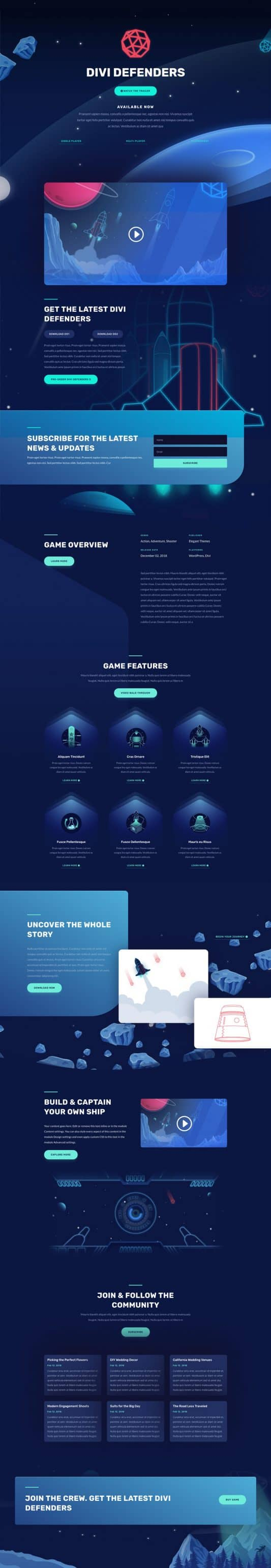 Video Game Landing Page Style 1