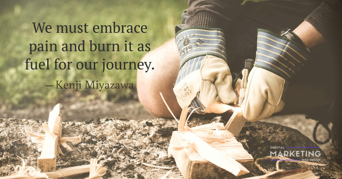 We must embrace pain and burn it as fuel for our journey – Kenji Miyazawa 1